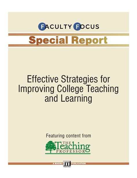 Effective Stategi faculty focus special report effective strategies for