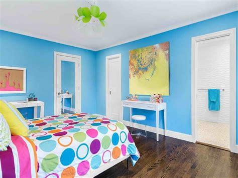 Blue Wall Color And White Ceiling Decoration For Simple Colorful Bedroom Wall Designs