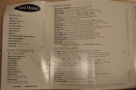 yard house menu prices yard house menu prices