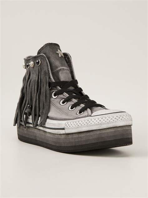 converse grey sneakers converse fringed platform sneaker in gray grey lyst