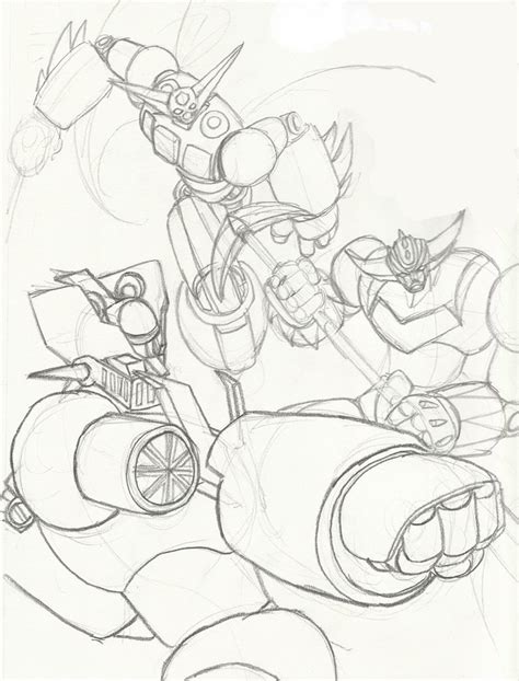 Mazinger Z Drawing by Mazinger Z Getter 1 And Grendizer Sketch By Shin Ian On