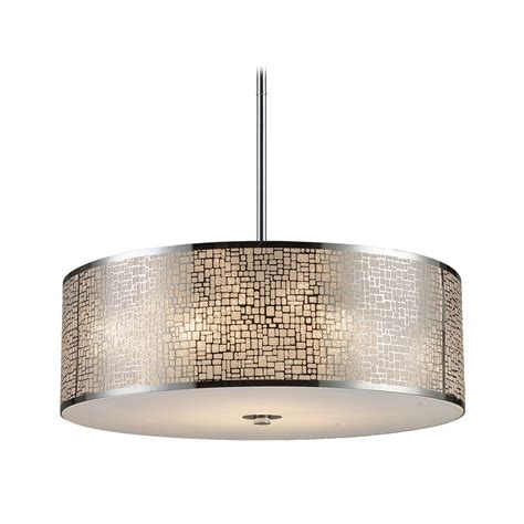 Modern Drum Pendant Light With White Glass In Polished Modern Drum Pendant Lighting