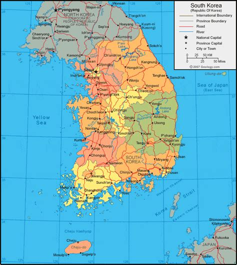 where is south korea on the map south korea map and satellite image