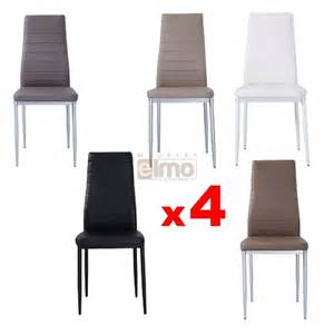 lot de 4 chaises contemporaines m 233 tal et cuir soria