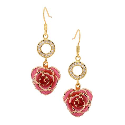rose themed jewellery gold dipped rose pink matched jewelry set in heart theme