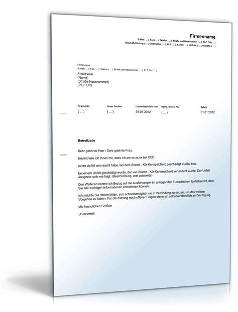 Musterbrief Versicherung Schaden Europ 228 Ischer Unfallbericht Plus Versicherungsmeldung