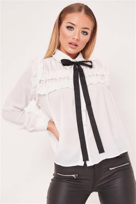 Tie Top Blouse White natalie white tie collar ruffle blouse