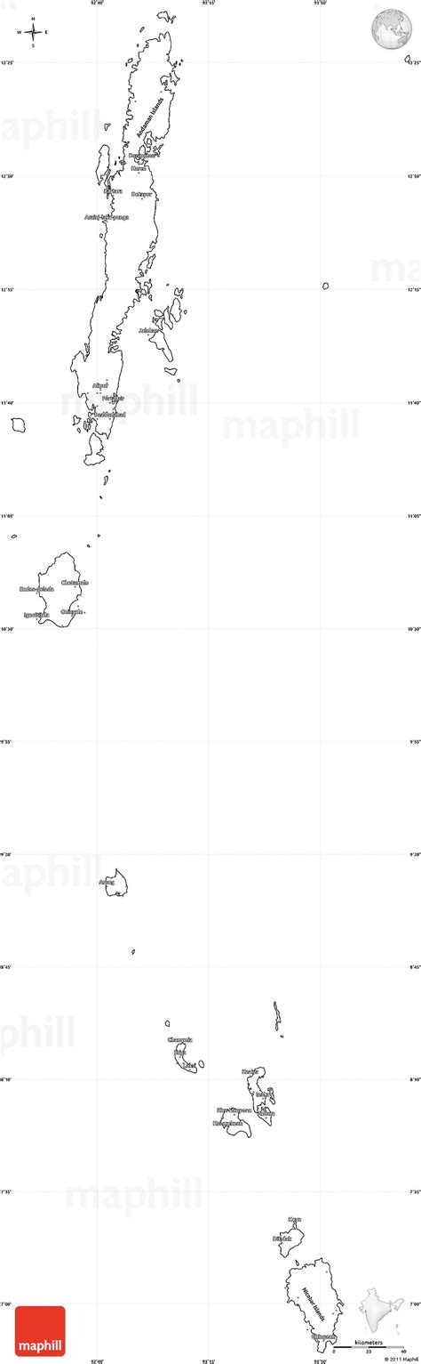 Andaman And Nicobar Outline Map by Blank Simple Map Of Andaman Nicobar