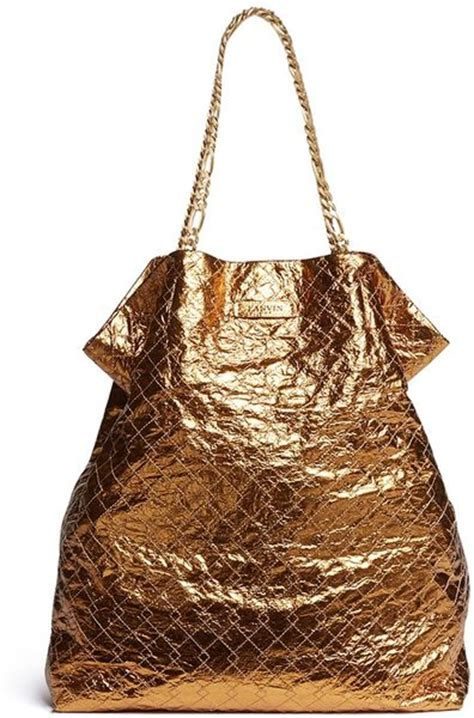 Lanvin Paperbag L lanvin paper bag quilted metallic leather tote in gold metallic lyst