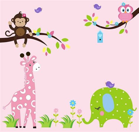 baby animal wall stickers nursery wall decal wall stickers jungle animal wall decals with giraffe zebra schattige