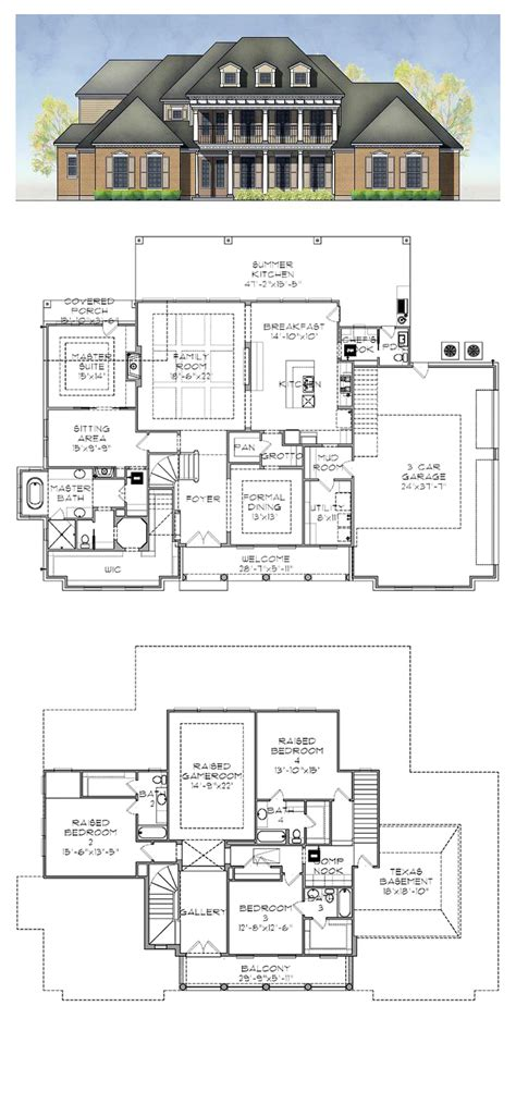 house plan 77884 plantation house plan 77884 total living area 3952 sq ft 4 bedrooms 4 5 bathrooms