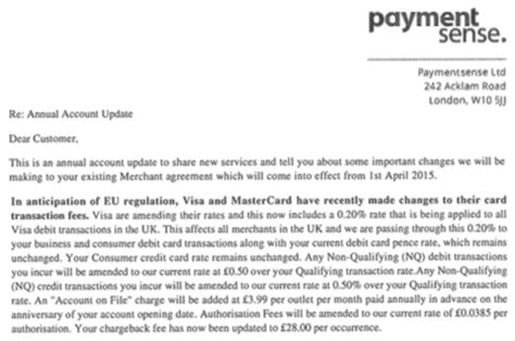 Raise Fee Letter Fee Increases From Paymentsense Cardswitcher