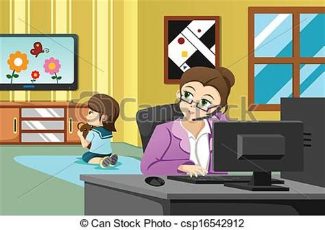 Vector Clip Art of Mother working in the office   A vector illustration of  csp16542912