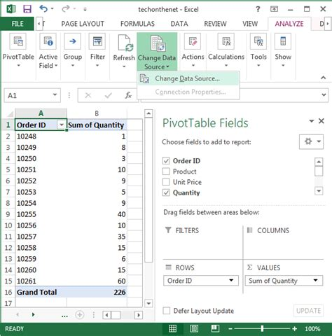 Change Pivot Table Source Data Ms Excel 2013 How To Change Data Source For A Pivot Table