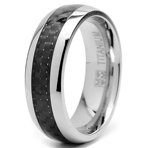 7 mm titanium ring wedding band with carbon fiber inlay size 8