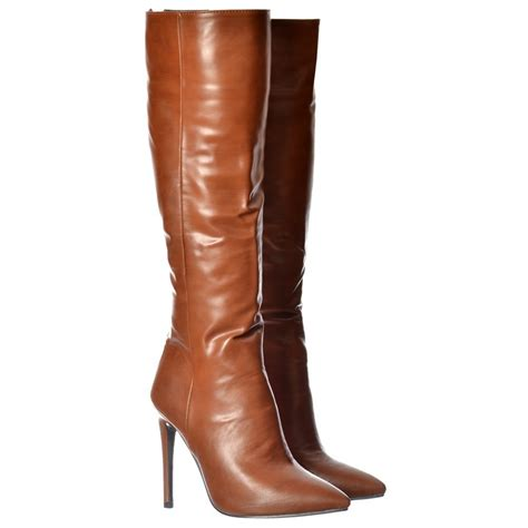 womens stiletto mid heel pointed toe knee high boots