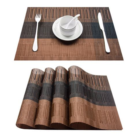 Dining Table Runners And Placemats Aliexpress Buy Set Of 4 Pvc Bamboo Plastic Placemats For Dining Table Runner Linens Place