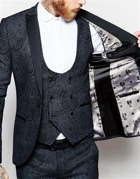patterned dinner shirt noose and monkey tuxedo wool blend suit jacket in black