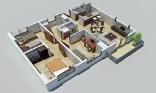 Casa 3d Plano 3d Casa Depto 3 Dormitorios Planos 3d