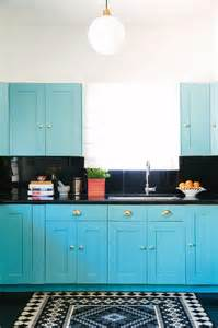 Blue Kitchen Countertops On turquoise blue kitchen with black countertops and