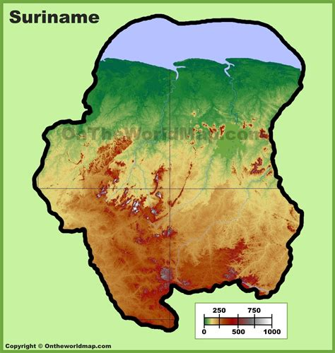 where is suriname on world map suriname physical map