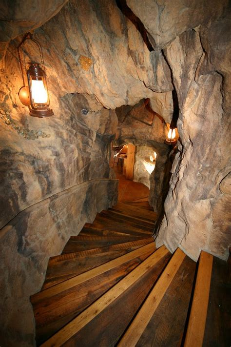 small man cave staircase rustic  curved landscape fine