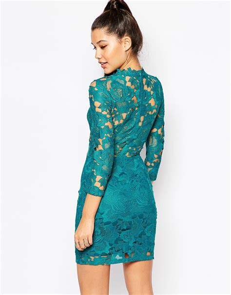 Hi Neck Lace Dress 8994 missguided high neck lace mini dress in blue lyst