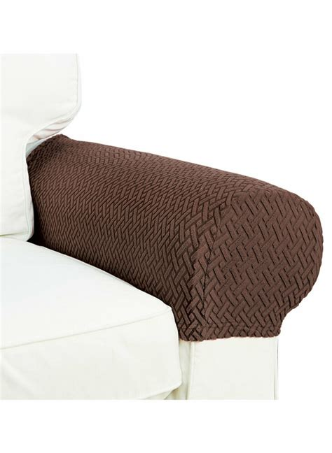 piece armrest covers stretchy set chair  sofa arm protectors costa brown ebay