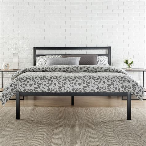 steel beds platform 1500h metal bed frame mattress foundation with headboard zinus