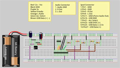 breadboard layout online charging ipod car charger w audio out electrical