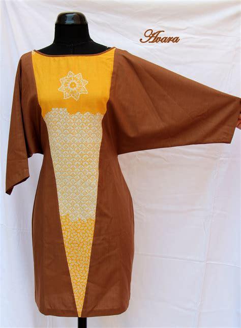 Dress Batik Asimetris brown and yellow batik dress