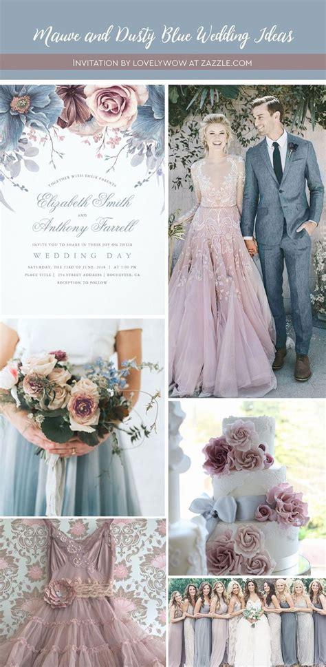 dusty blue  mauve watercolor floral wedding invitation