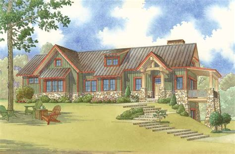 adirondack style home plans 5025 adirondack place home plan with stone columns and