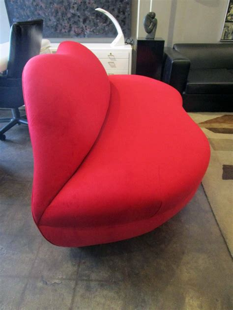lip shaped couch bright red lip shaped bocca loveseat at 1stdibs