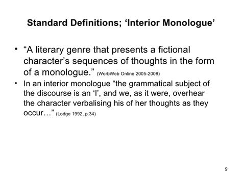 Exles Of Interior Monologue In Literature by Brief History Of The Interior Monologue