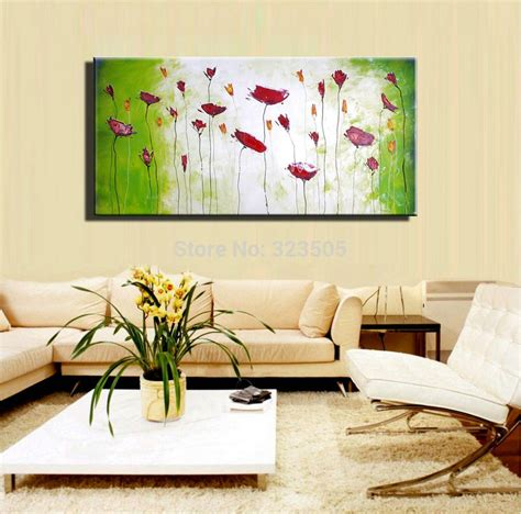 2018 cheap large framed art home decor wall paintings 3 large decorative cheap wall art abstract poppy green