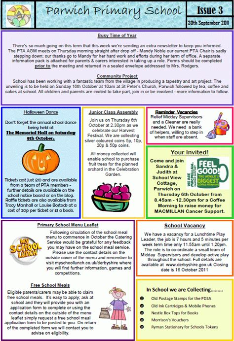School Newsletter 3 Nominations For Pta Committee Parwich Org Pta Newsletter Templates In Word
