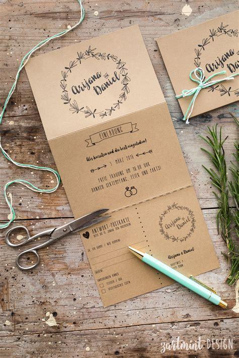 Hochzeitseinladung Zeitplan hochzeitspapeterie hochzeitseinladung kraftpapier