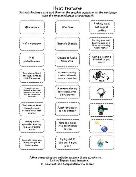 Energy Transfer Worksheet Answers by Heat Transfer Cut Paste Activity Physical Science