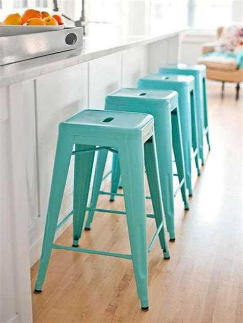 Coloured Kitchen Stools by Turquoise Accents In The Kitchen Paradissi