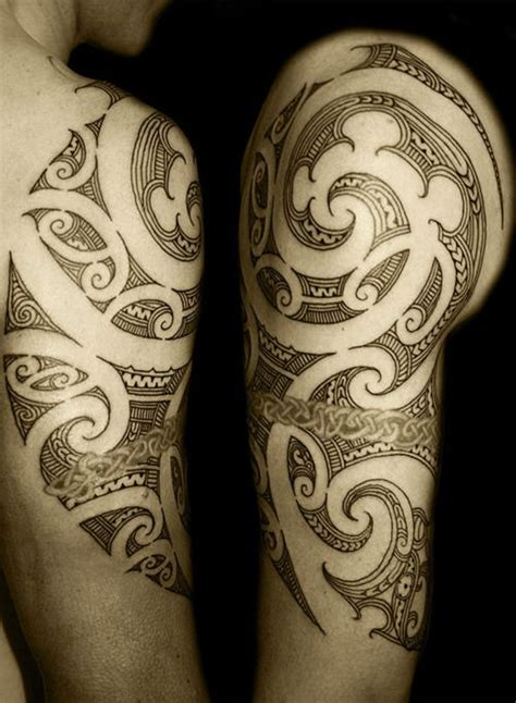 tribal tattoo quebec arm and shoulder swirl tribal