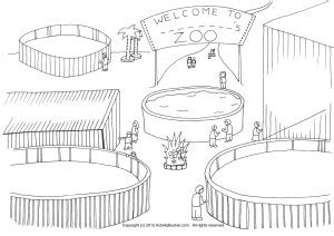 zoo background coloring page zoo cage clipart clipartxtras