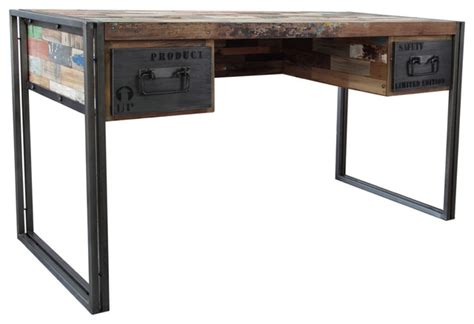 spike industrial 2 drawer desk eclectic desks and