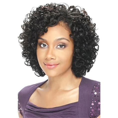 dejavu human hair blend weave short cut soft coil 3 pcs model model human hair blend weaving pose red oprah crown 3pcs