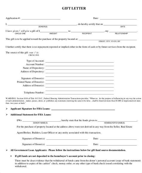 Gift Letter Of Equity fha gift letter template pdf gift ftempo