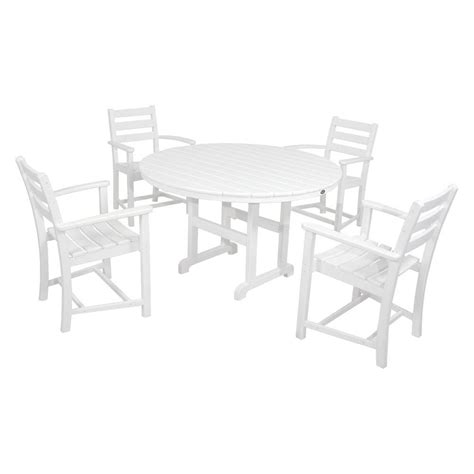 White Patio Dining Set Trex Outdoor Furniture Monterey Bay Classic White 5 Plastic Outdoor Patio Dining Set