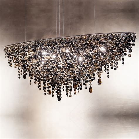 Black Chandeliers With Crystals Contemporary Black Oval Chandelier