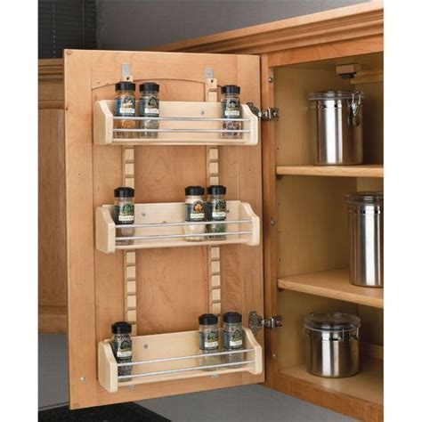 kitchen cabinet door storage adjustable door mount spice rack maple wood available