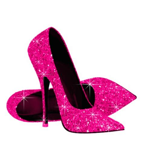 pink glitter high heel shoes acrylic cut outs