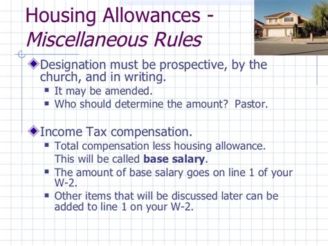ssi housing allowance street smart finances for covenant pastors 2012
